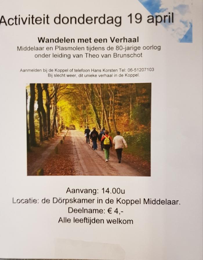 Wandelen met verhalen 19 april 14.00 uur vanuit De Koppel
