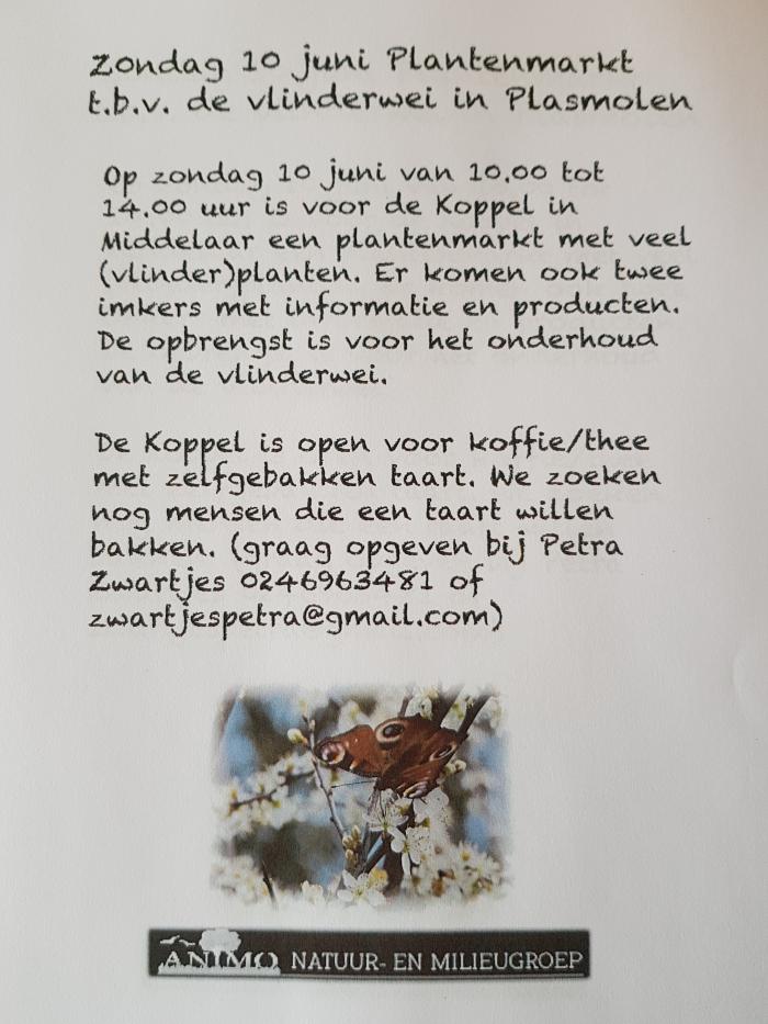 Plantjesmarkt 10 juni bij De Koppel