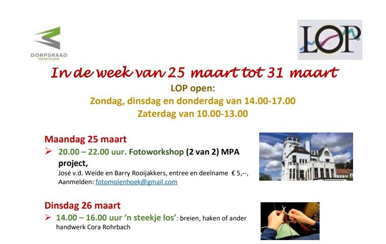 Activiteiten in het LOP: week van 25 tot 31 maart