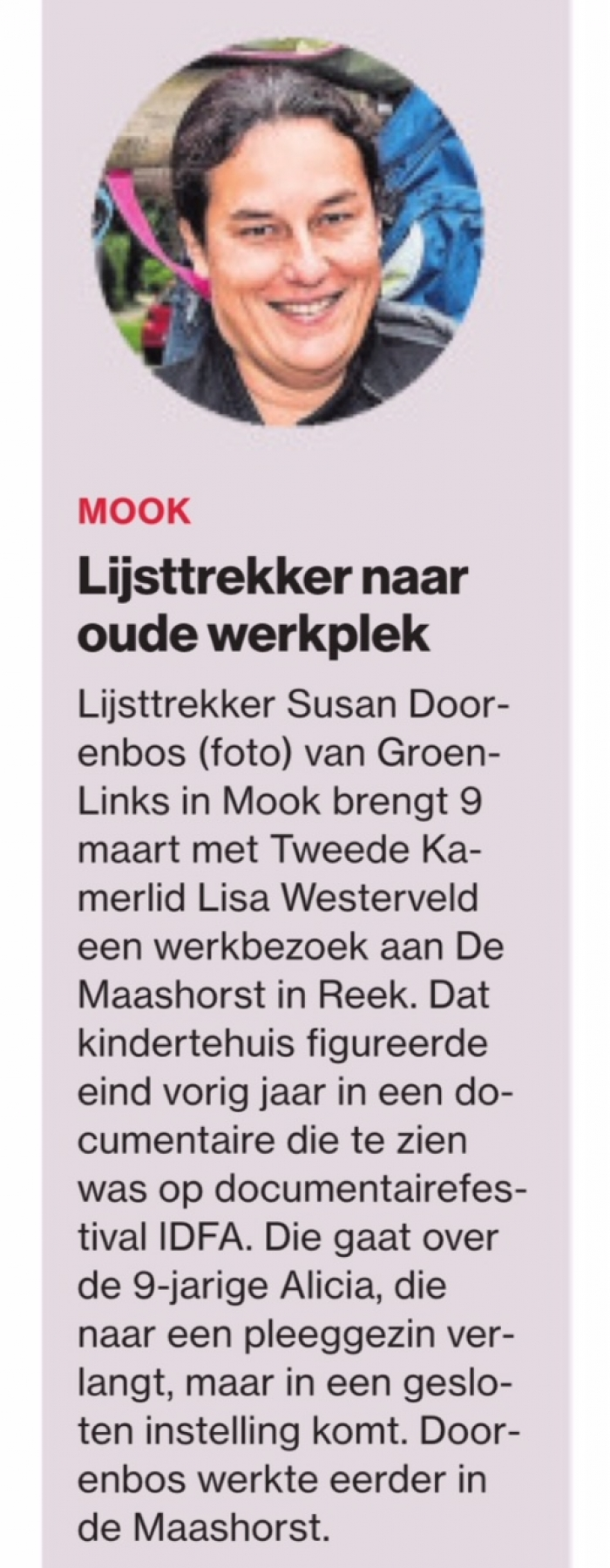 Susan Doorenbos bezoekt kindertehuis Reek